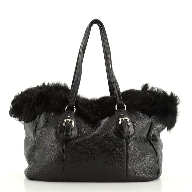 Prada Buckle Tote Leather And Fur Medium In Good Condition For Sale In New York, NY