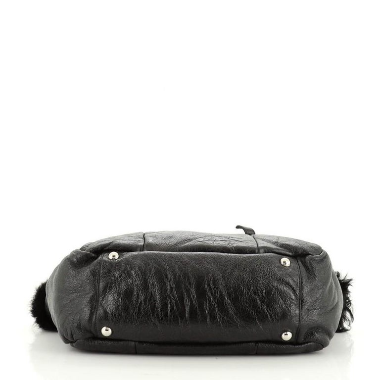 Women's or Men's Prada Buckle Tote Leather And Fur Medium For Sale