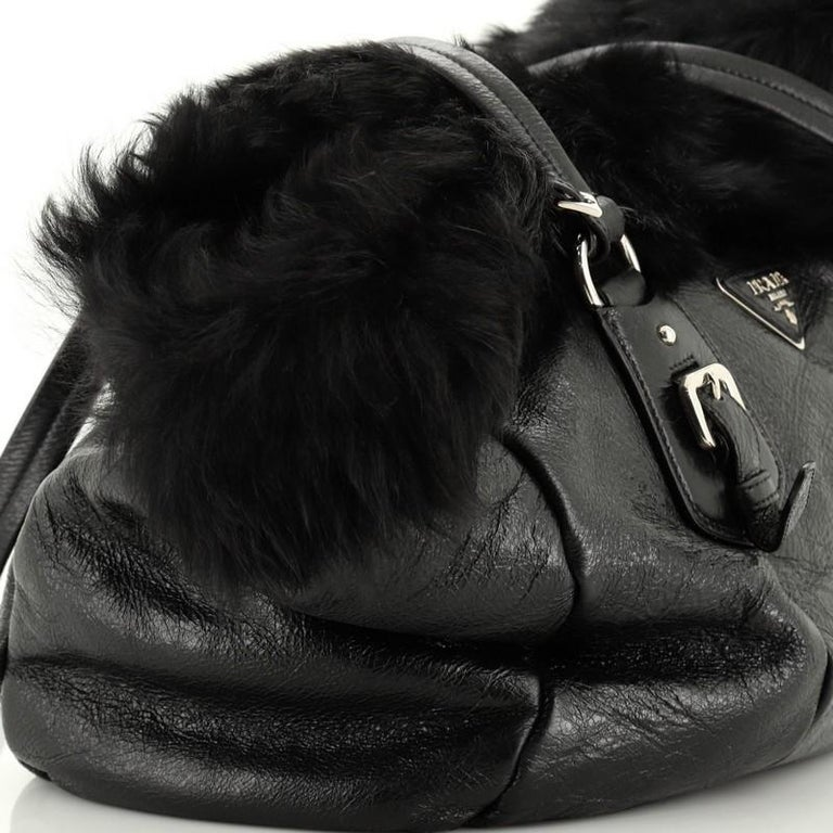 Prada Buckle Tote Leather And Fur Medium For Sale 2