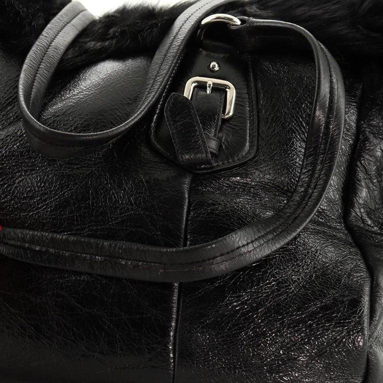 Prada Buckle Tote Leather And Fur Medium For Sale 3