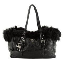 Prada Buckle Tote Leather And Fur Medium