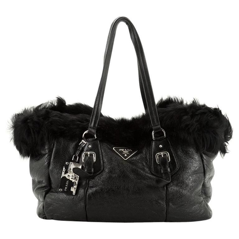 Prada Buckle Tote Leather And Fur Medium For Sale