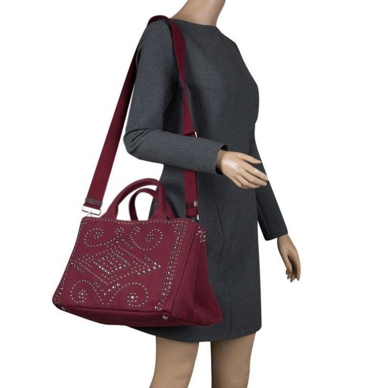 Prada Burgundy Canvas Studded and Crystal Gardener's Tote In Excellent Condition For Sale In Dubai, Al Qouz 2