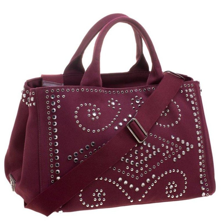 Women's Prada Burgundy Canvas Studded and Crystal Gardener's Tote For Sale