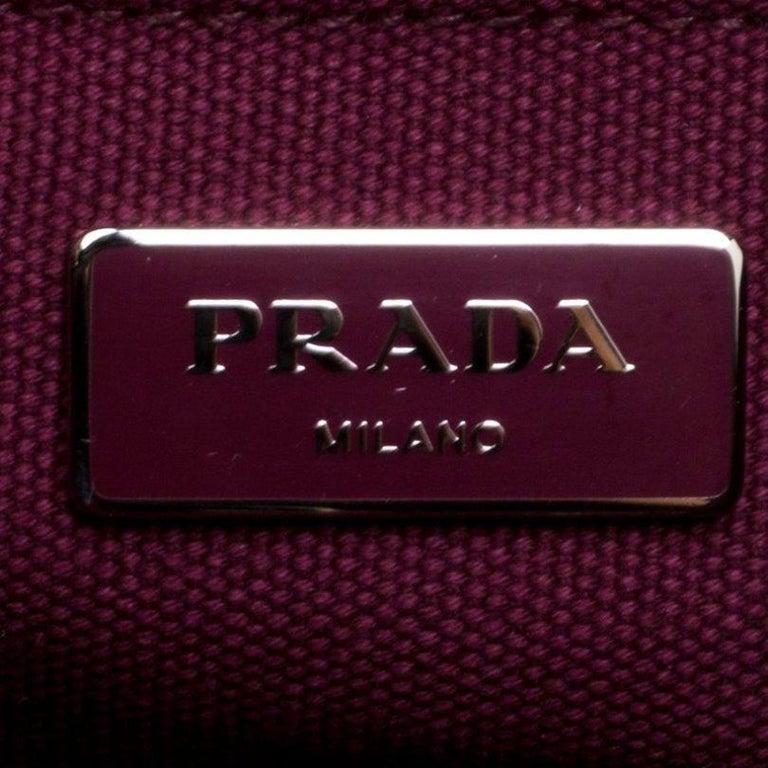 Prada Burgundy Canvas Studded and Crystal Gardener's Tote For Sale 4