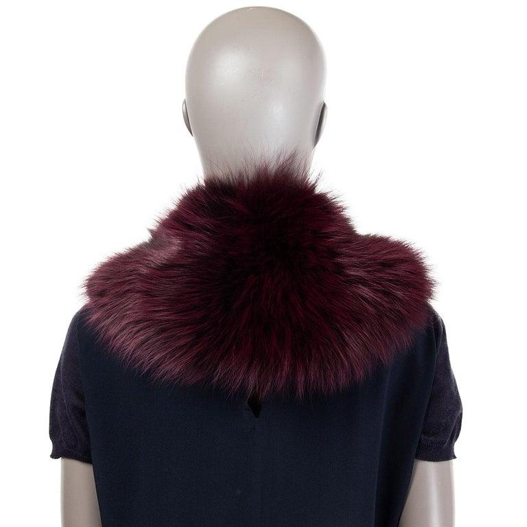 Black PRADA burgundy FOX FUR Shawl Collar Scarf For Sale