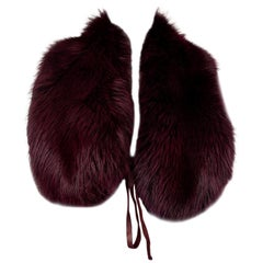PRADA burgundy FOX FUR Shawl Collar Scarf