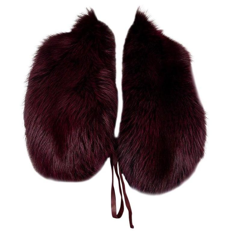 PRADA burgundy FOX FUR Shawl Collar Scarf For Sale