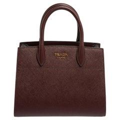 Prada Burgundy/Grey Saffiano Leather Bibliotheque Tote
