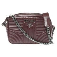 Prada Burgundy Leather Diagramme Crossbody Bag