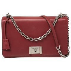 Prada Burgundy Leather Lock Flap Shoulder Bag