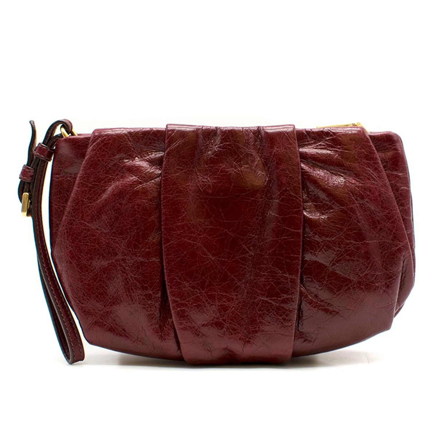9fc2ef2b435e Prada burgundy leather wristlet clutch at 1stdibs