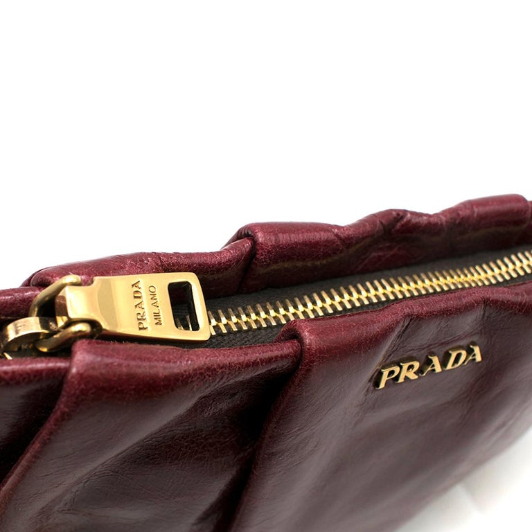 a830349d34be Prada burgundy leather wristlet clutch For Sale 3