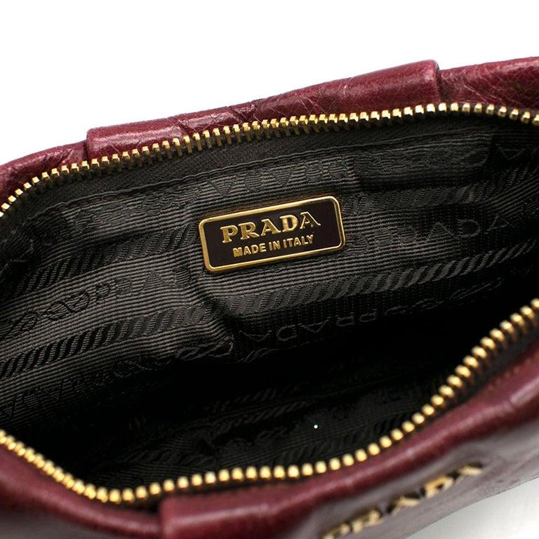 a9adcd138968 Prada burgundy leather wristlet clutch For Sale 4