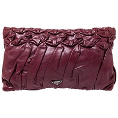 Prada Burgundy Nappa Gaufre Leather Clutch