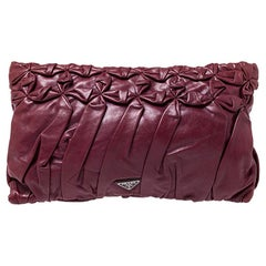 Prada Burgundy Nappa Gaufre Leather Clutch