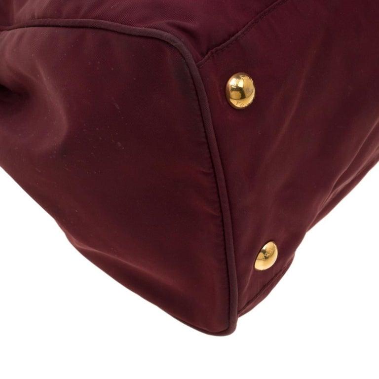 Prada Burgundy Nylon Pocket Zip Tote For Sale 6