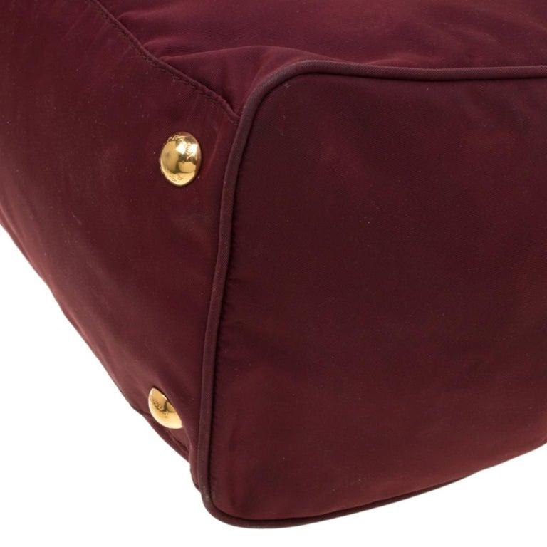 Prada Burgundy Nylon Pocket Zip Tote For Sale 7
