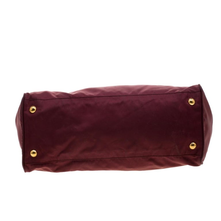 Prada Burgundy Nylon Pocket Zip Tote For Sale 1