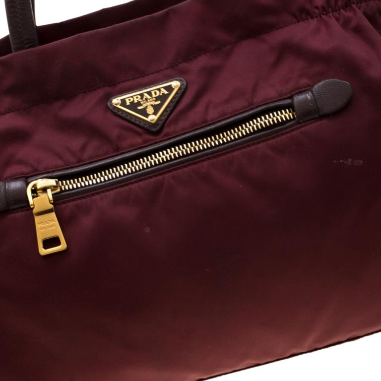 Prada Burgundy Nylon Pocket Zip Tote For Sale 2