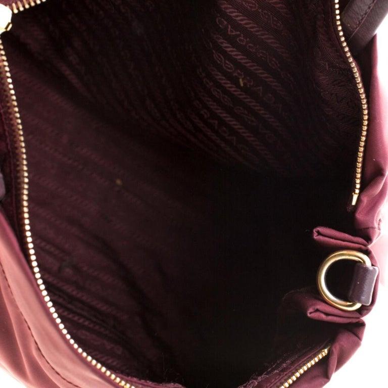 Prada Burgundy Nylon Pocket Zip Tote For Sale 3