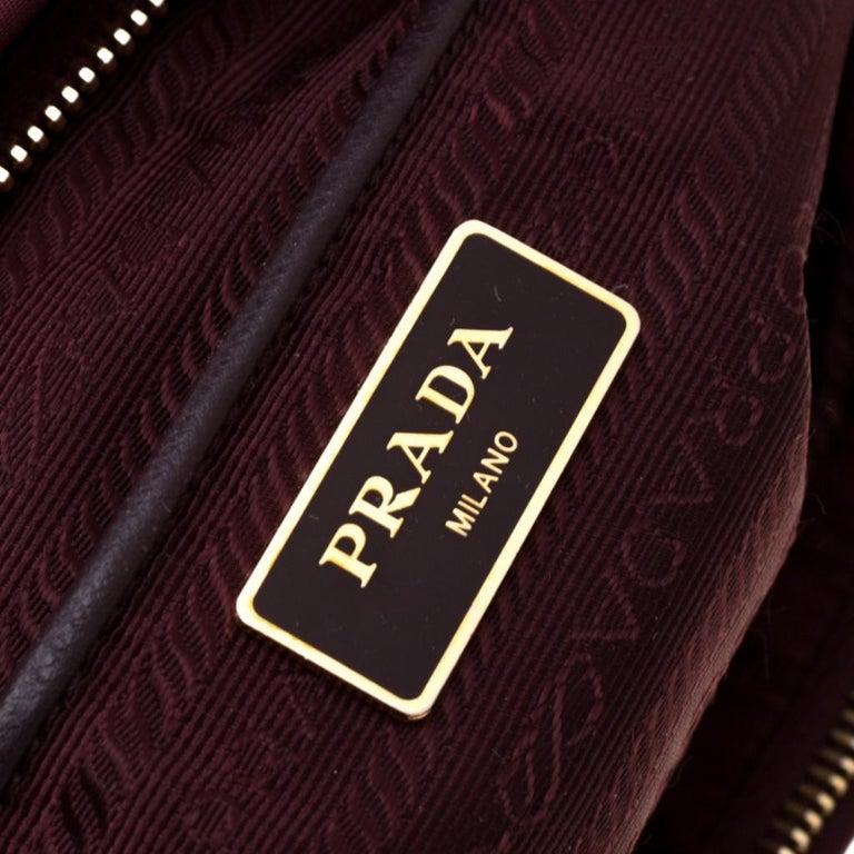 Prada Burgundy Nylon Pocket Zip Tote For Sale 5
