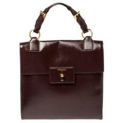 Prada Burgundy Patent Leather Flap Top Handle Bag