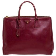 Prada Burgundy Saffiano Leather Executive Double Zip Tote