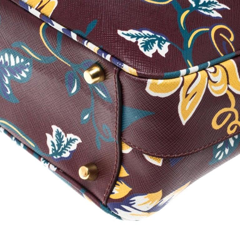 Prada Burgundy Saffiano Print Leather Top Handle Bauletto Bag For Sale 6