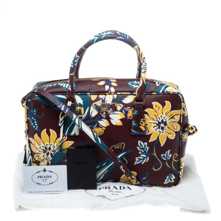 Prada Burgundy Saffiano Print Leather Top Handle Bauletto Bag For Sale 7