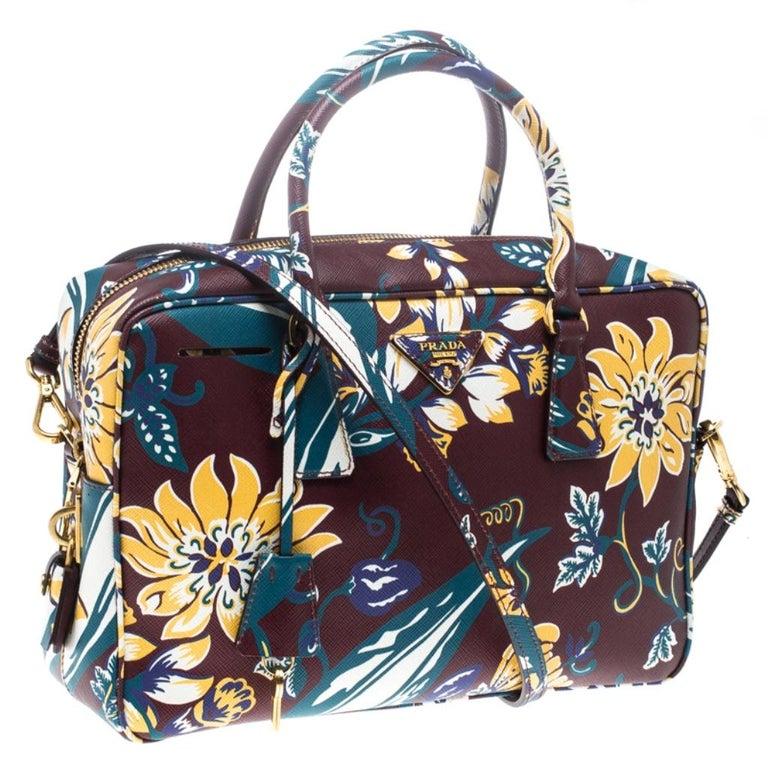 Women's Prada Burgundy Saffiano Print Leather Top Handle Bauletto Bag For Sale