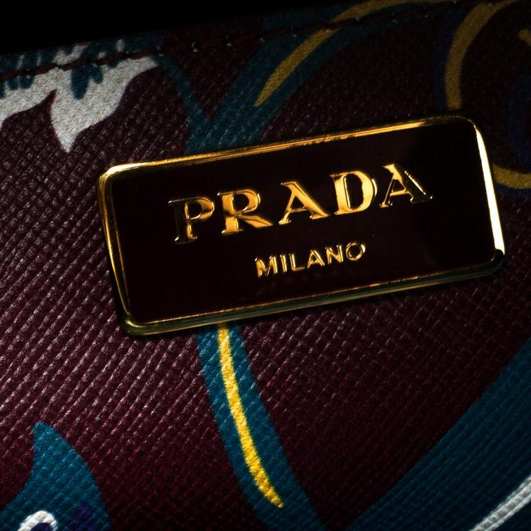 Prada Burgundy Saffiano Print Leather Top Handle Bauletto Bag For Sale 3