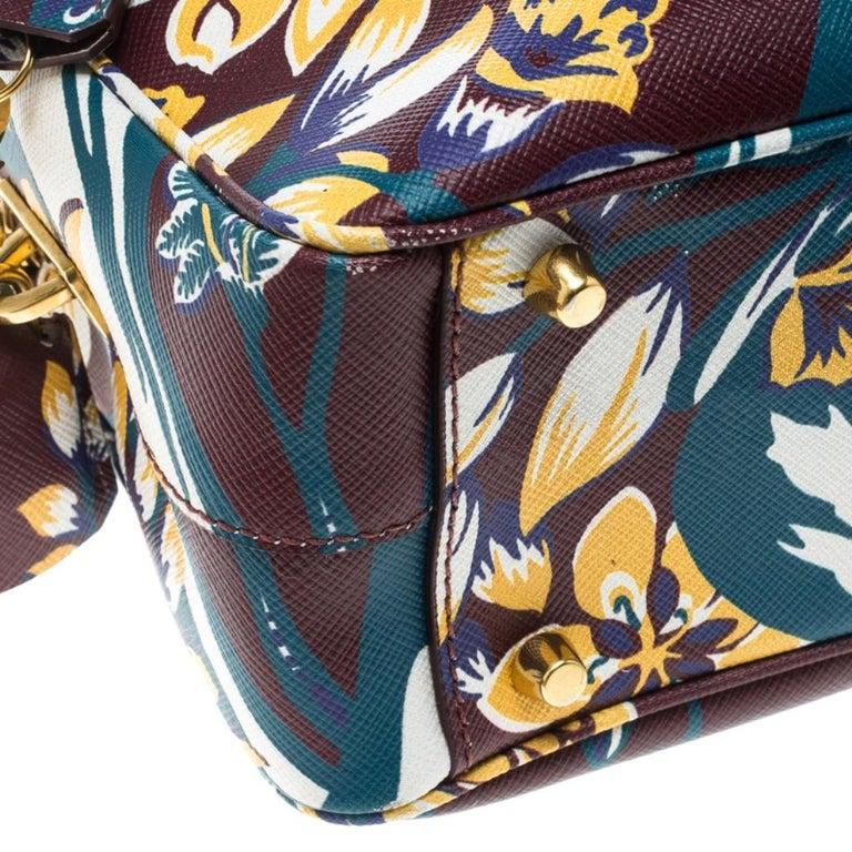 Prada Burgundy Saffiano Print Leather Top Handle Bauletto Bag For Sale 5