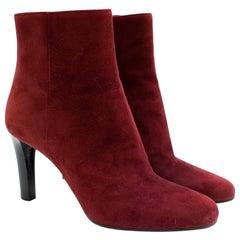 Prada Burgundy Suede Heeled Ankle Boots 38.5
