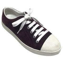 PRADA Burgundy Suede Sneakers - 36