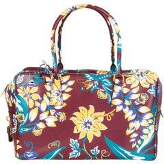 PRADA burgundy Suffiano leather FLORAL BAULETTO Shoulder Bag