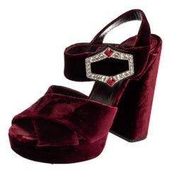 Prada Burgundy Velvet Ankle Strap Sandals Size 39.5