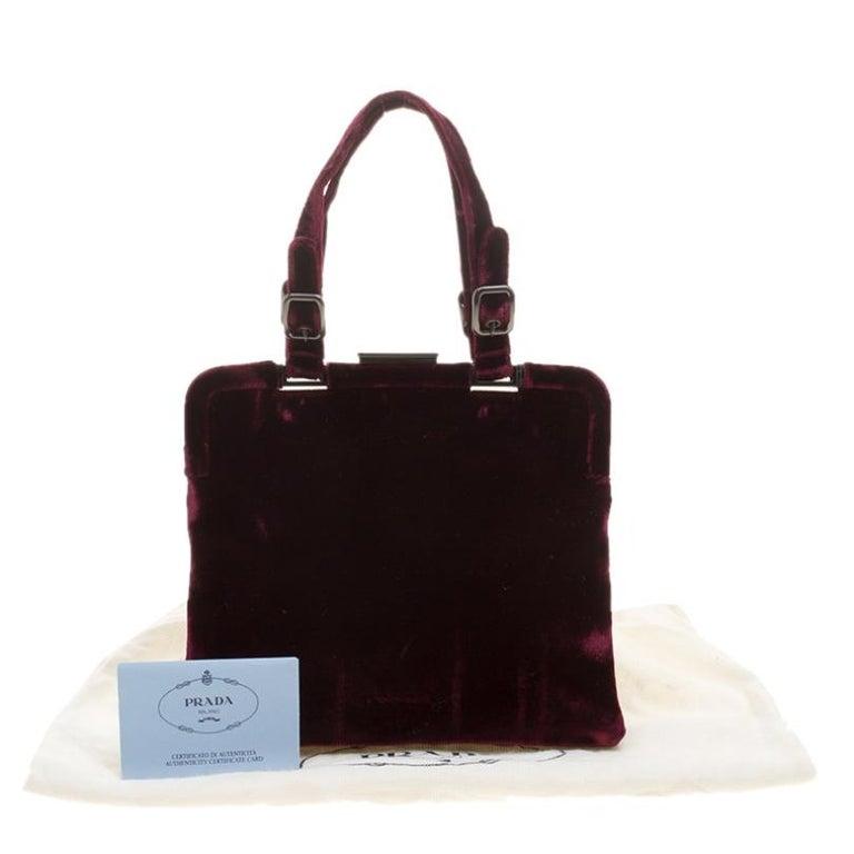 Prada Burgundy Velvet Frame Bag For Sale 7