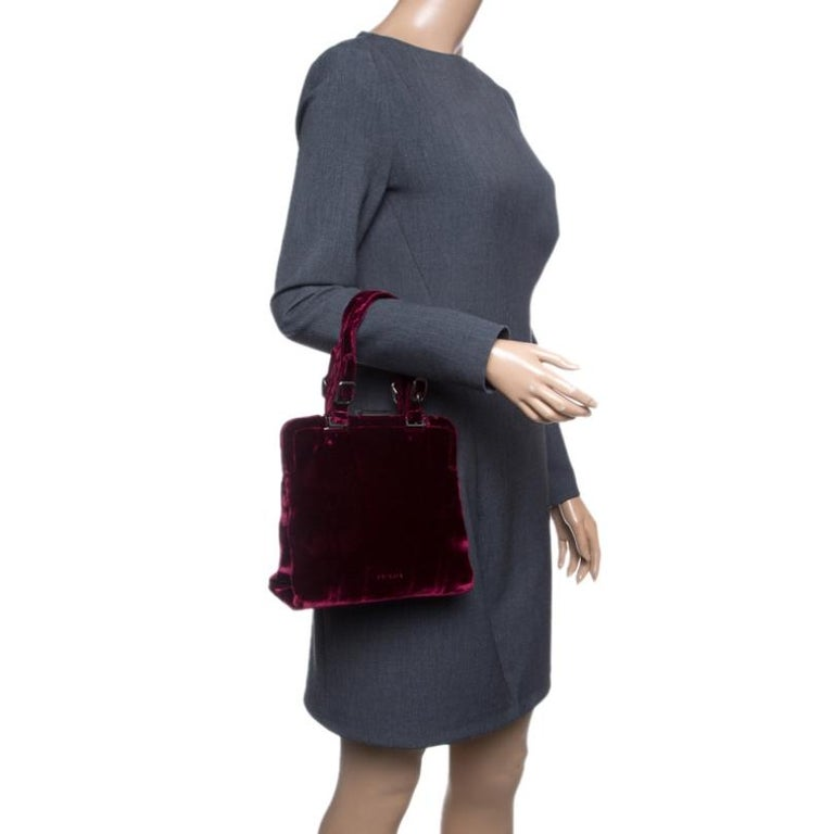 Prada Burgundy Velvet Frame Bag In Excellent Condition For Sale In Dubai, Al Qouz 2