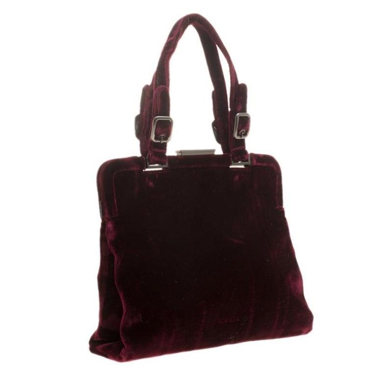 Women's Prada Burgundy Velvet Frame Bag For Sale