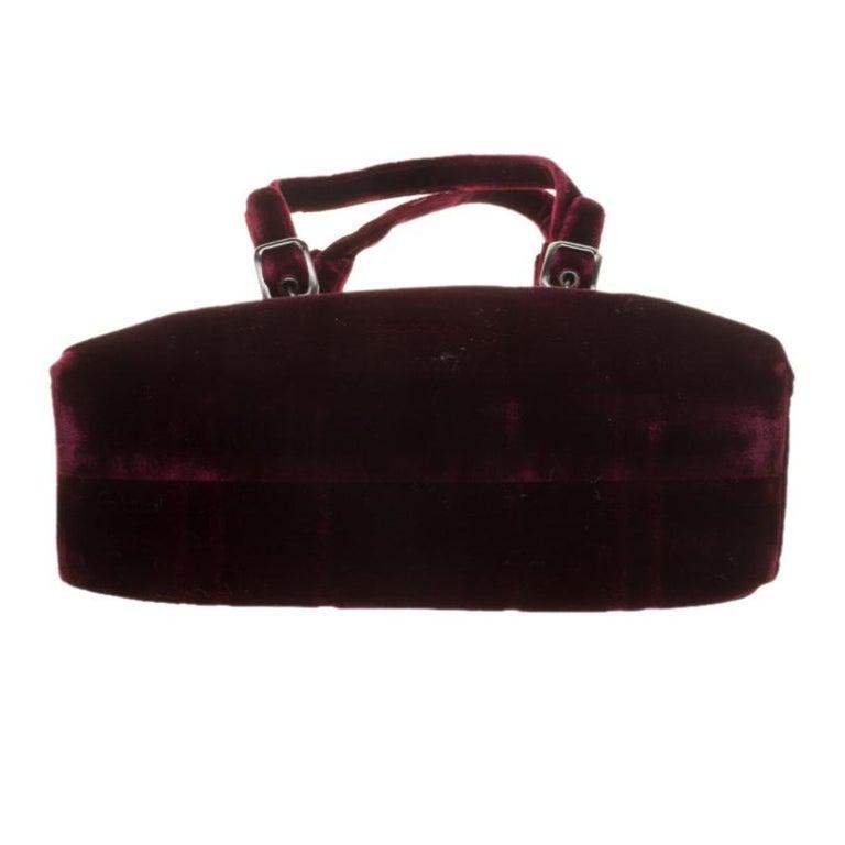 Prada Burgundy Velvet Frame Bag For Sale 1