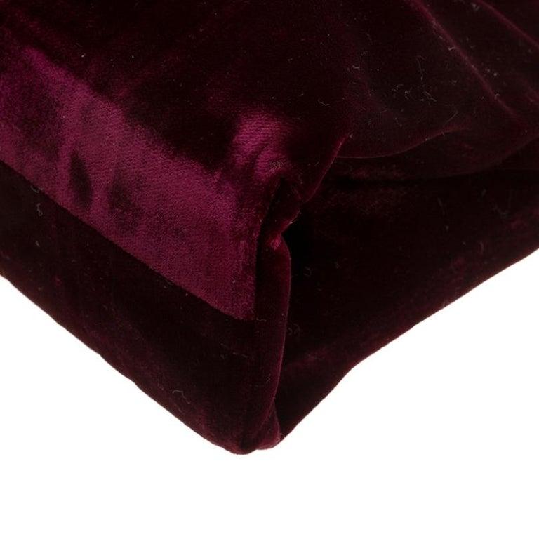 Prada Burgundy Velvet Frame Bag For Sale 2