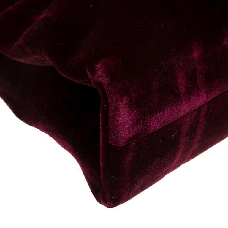 Prada Burgundy Velvet Frame Bag For Sale 3