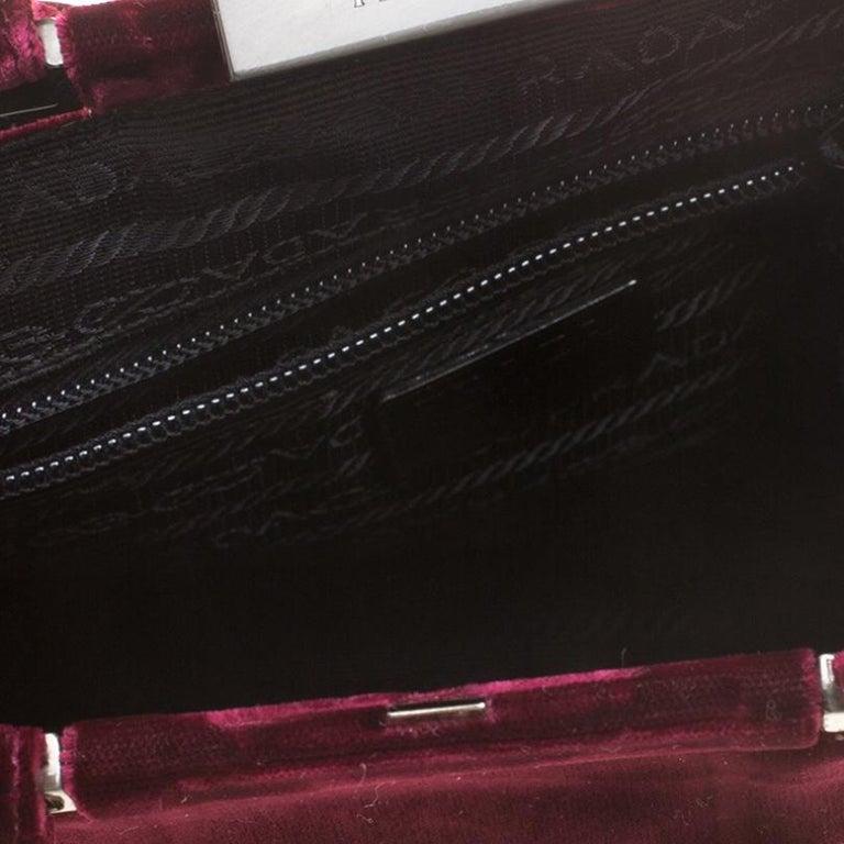 Prada Burgundy Velvet Frame Bag For Sale 4