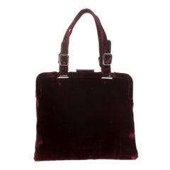 Prada Burgundy Velvet Frame Bag