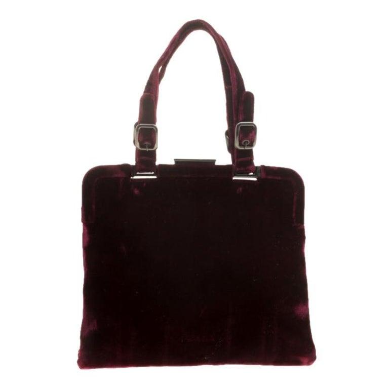 Prada Burgundy Velvet Frame Bag For Sale