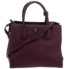 Prada Burgundy Vitello Danio Leather Shopper Tote