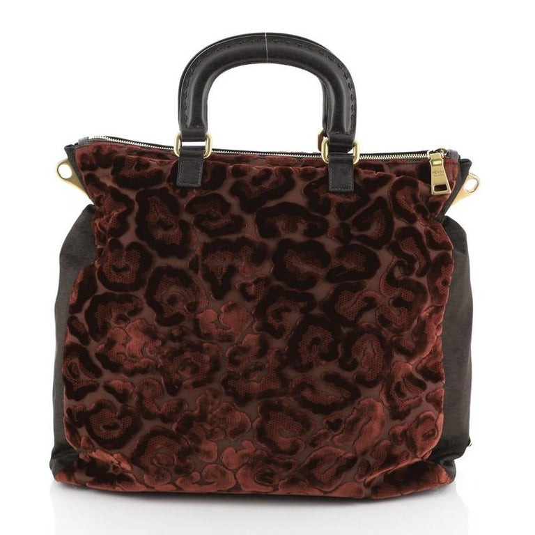Prada Burnout Convertible Tote Velvet and Tessuto Large In Good Condition For Sale In New York, NY