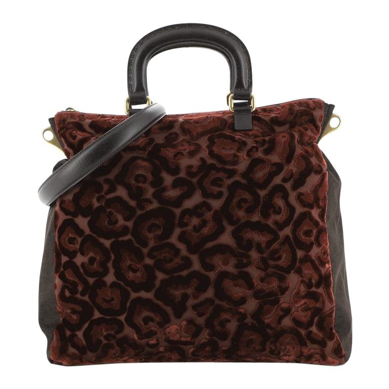 Prada Burnout Convertible Tote Velvet and Tessuto Large For Sale