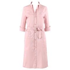 PRADA c.2000's Pink Button Down Patch Pocket Belted Long Sleeve Shirt Dress
